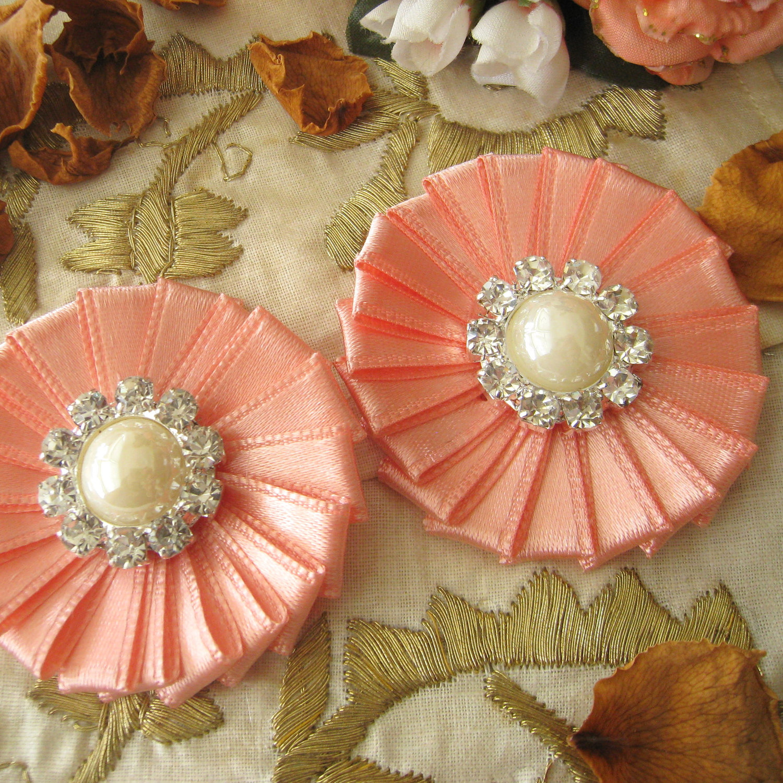 New item peach pink ribbon flower appliques buttons on luulla new item peach pink ribbon flower appliques buttons mightylinksfo